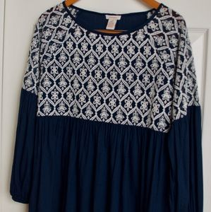 Sundance smock top blouse navy